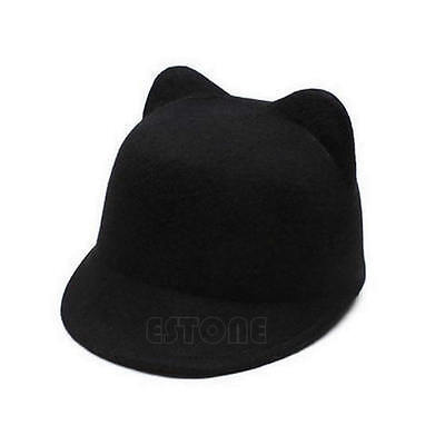 New Winter Fashion Women Devil Hat Cute Wool Derby Bowler Kitty Cat Ears Cap