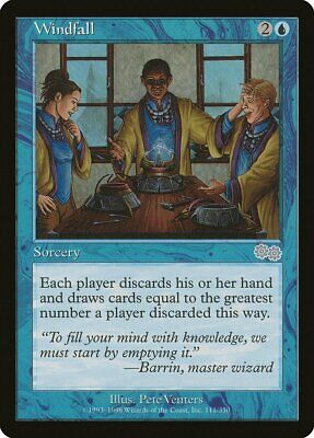 Windfall Urza/'s Saga HEAVILY PLD Blue Uncommon MAGIC THE GATHERING CARD ABUGames