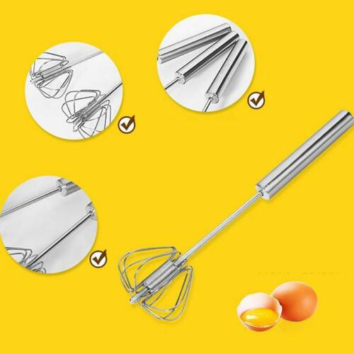 Egg Beater Mixer Frother Kitchen Tool Semi-auto Rotary Manual Press Whisk Useful