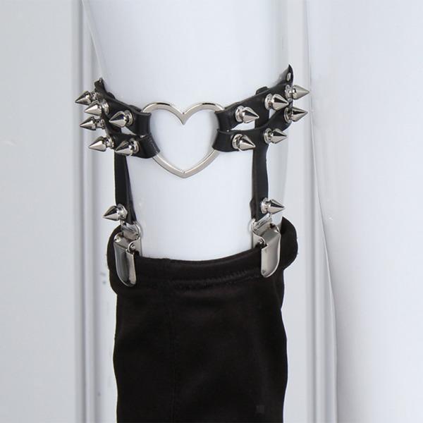 Frauen Sterne Herz Strumpfbänder Gürtel Nieten Gothic Punk Leder Strumpfband