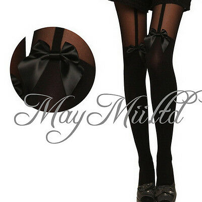 New Sheer Bowknot Mock Suspender Tattoo Pantyhose Stockings S