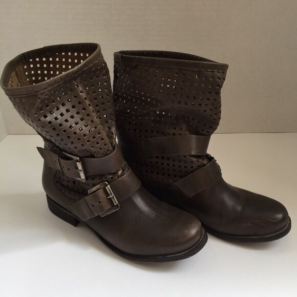 Steve Madden Perforated Leather Motorcycle Boot Size 6