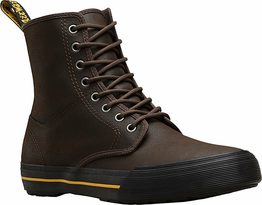 Men's Dr Martens Winsted 8 Eye LaceUp Boot Dark Brown Greasy Leather 22421201