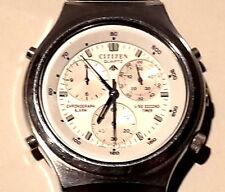 Citizen Quartz Chronograph Alarm 1/50 Second Timer Edelstahl 39mm