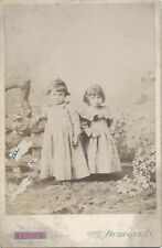 CABINET CARD PHOTO OF TWO ADORABLE SISTERS IN OUTDOOR STUDIO SCENE - DUBUQUE, IA