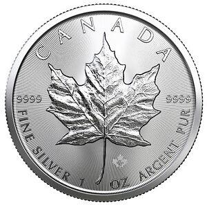 Tube of 25 - 2019 $5 1oz Silver Canadian Maple Leaf .9999 BU