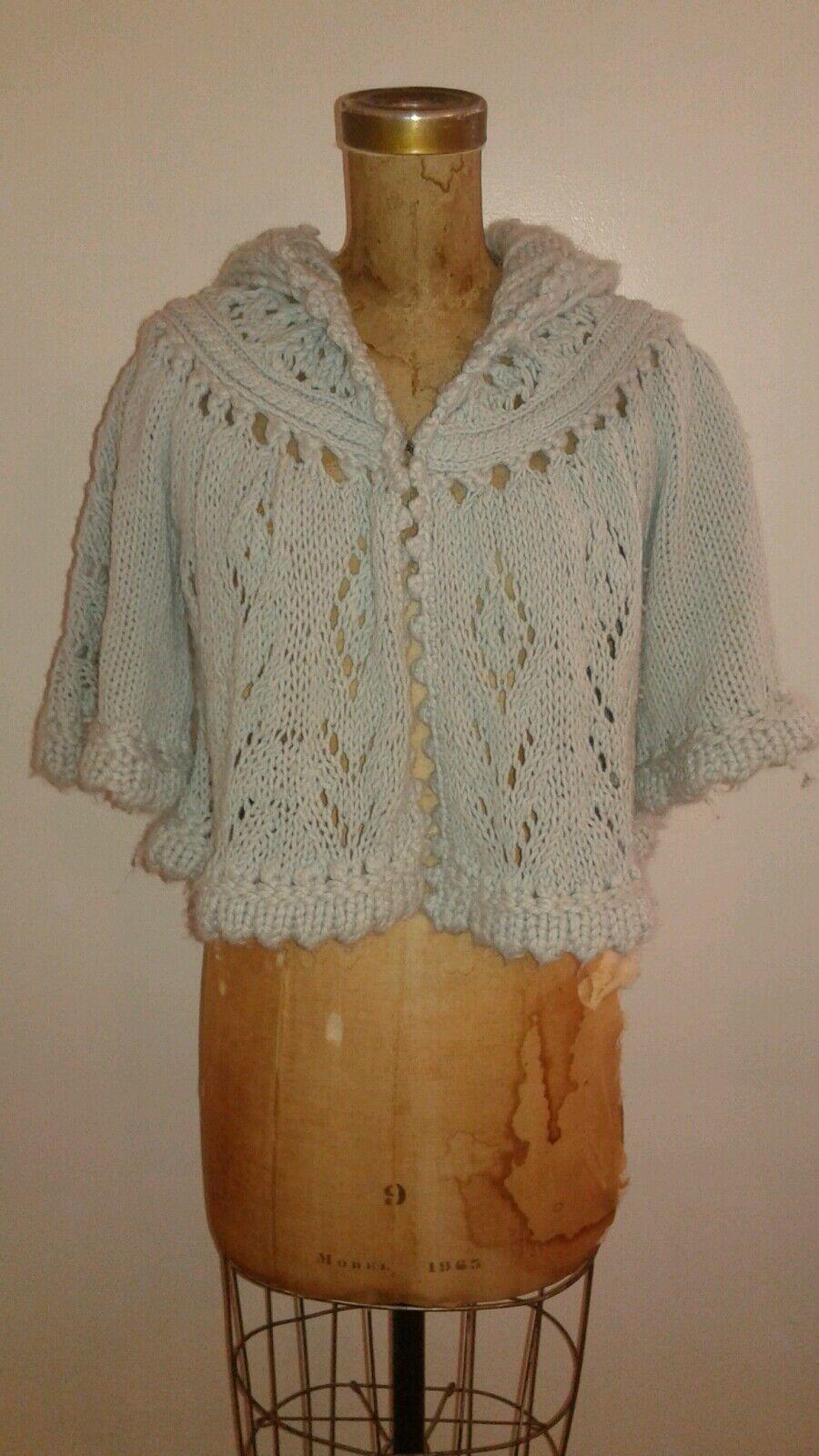 Anthropologie Chunky Swing Sweater Cape Shawl Light bluee Sz Small