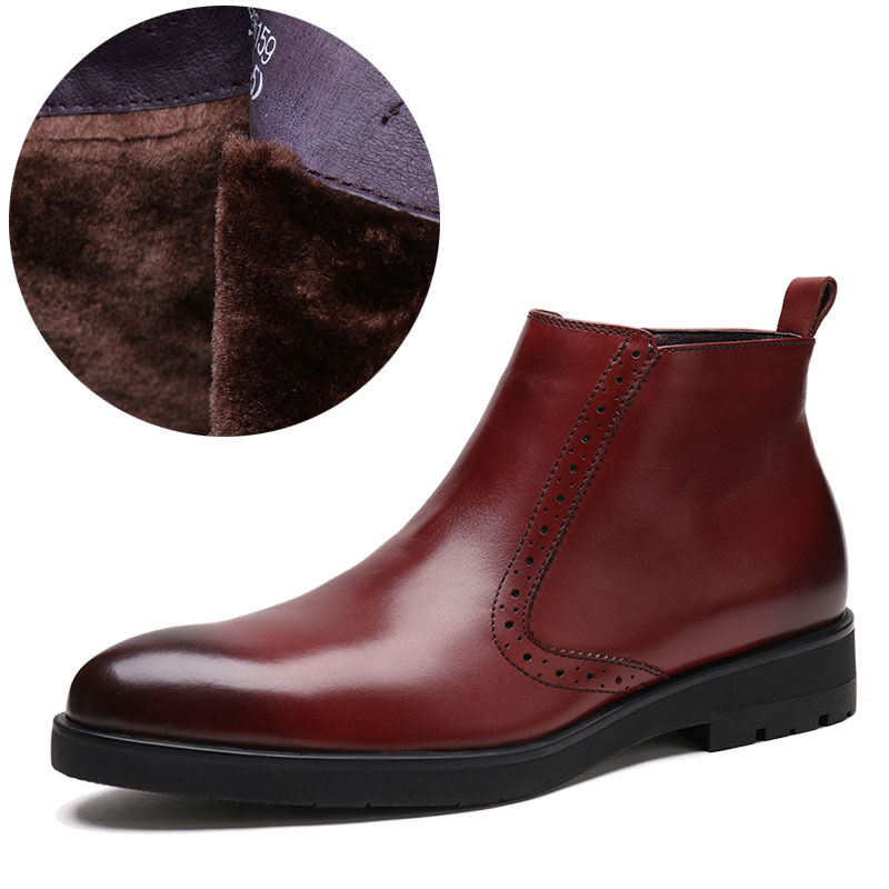 New Men's shoes Real Leather Cowboy Ankle Boots Fur warm Business C159 Size 510