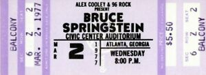 BRUCE SPRINGSTEEN 1977 LAWSUIT DRAGS ON TOUR UNUSED CONCERT TICKET-ATLANTA