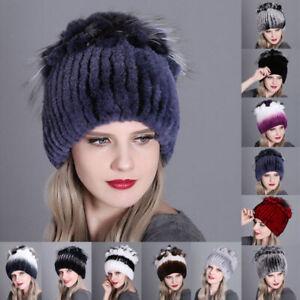 Women-039-s-Hats-Winter-Rex-Rabbit-Fur-Hat-Head-Wrap-Knit-Cap-Beanie-Hat-Outdoor