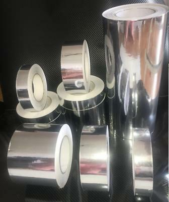 Self-adhesive Glossy Mirror Chrome Silver Vinyl Tape Wrap Film Sheet Bubble Free