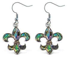 Puzzled Earrings - Dangle Post - Fish Hook - Natural Paua - Fleur De Lis New Ze