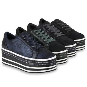 best authentic 23d00 0d69d Details zu Damen Plateau Sneaker Glitzer Turnschuhe Schnürer Plateauschuhe  824237 Schuhe