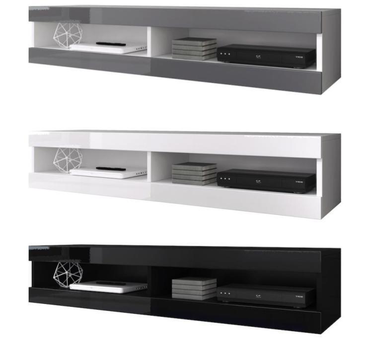 TV Möbel Schwebend zur Wandbefestigung Lowboard Volant 150 cm Mit Oder Ohne LED