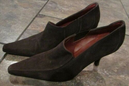 Donald J Pliner Muneco Ladies Pumps 10 M Brown Suede High Heel Shoes $220
