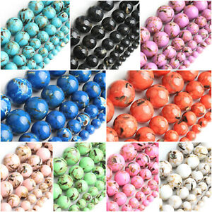 Wholesale-shell-howlite-stone-round-Loose-beads-jewelry-making-15-039-039-4-6-8-10mm