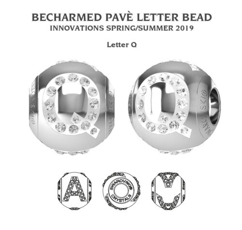 Original SWAROVSKI 82201 BeCharmed Kristall Perlen mit Briefe 12mm Edelstahl