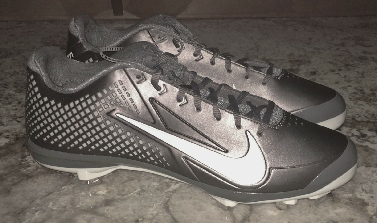NIKE Zoom Vapor Elite Graphite Grey Whi Baseball Metal Spikes Cleats NEW Mens 13