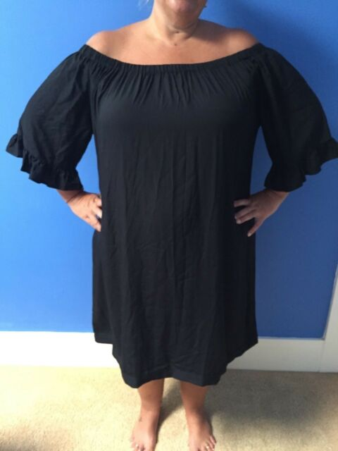 PLUS SIZE 20 22  Off the shoulder Black Dress with frill sleeve