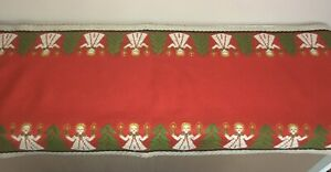 Vintage-Woven-Christmas-Angels-Candles-Trees-Table-Runner-Red-Green-Gold-15-034-x52-034