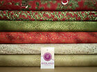 Red Merry Christmas themed 100% Cotton Patchwork & Crafting Fabric 45