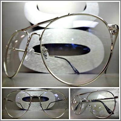 CLASSIC VINTAGE RETRO Style Clear Lens EYE GLASSES Silver Metal Fashion Frame