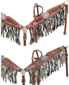 Showman BEJEWELED Metallic LEOPARD Print Bridle FRINGE Breast Collar & Reins SET