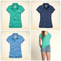 Hollister By Abercrombie Women's Tide Beach Polo Shirt Top Green Blue Xs S