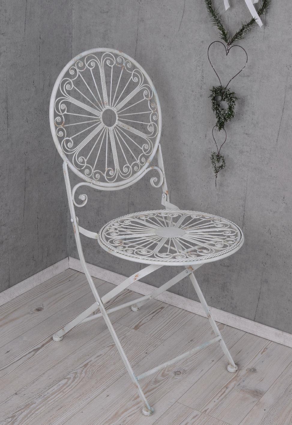 Eisenstuhl Shabby Garten Klappstuhl Stuhl Weiss Eisen Gartenstuhl Gartenstuhl Gartenstuhl Balkonstuhl 095b30