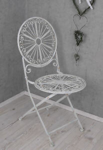 Gartenstuhl Shabby Chic Stuhl Weiss Metallstuhl Antik Balkonstuhl Terrassenstuhl