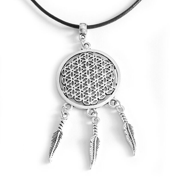 Flower of Life Pendant Dream Catcher Necklace Round Silver Tone with Black Cord