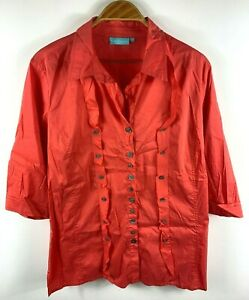 Blue-Illusion-Womens-Button-Up-Top-Blouse-Shirt-Size-21-Light-Red-3-4-Sleeve
