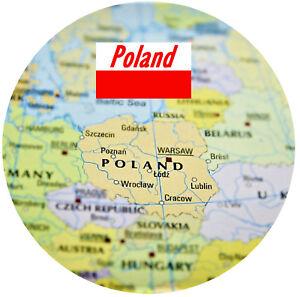 Poland Map Flag Souvenir Novelty Round Fridge Magnet Sights