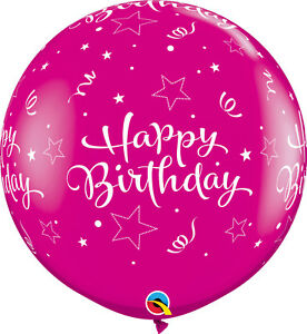 2-x-LARGE-BIRTHDAY-PINK-BALLOONS-3ft-91cm-QUALATEX-BALLOONS-TWO-BALLOONS