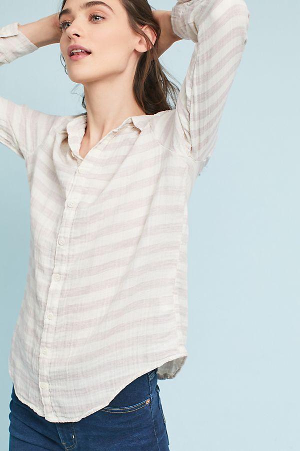 Anthropologie  CP Shades Miramar Striped Buttondown Cotton Top Sz Medium