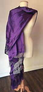 Mexican Rebozo Media Seda Purple Morado Silk Texture Handwoven Shawl Wrap Runner