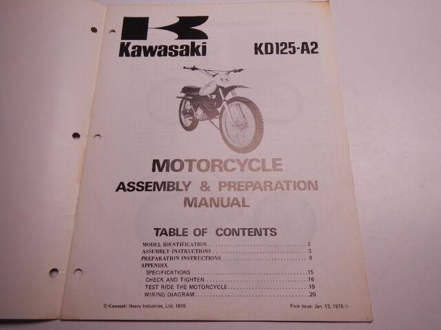kawasaki kd125a2 1976 kd125 assembly and preparation manual 76 kd 125 | ebay
