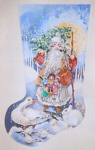 Needlepoint-Handpainted-JOY-JUAREZ-Christmas-STOCKING-Father-Christmas-ANIMALS