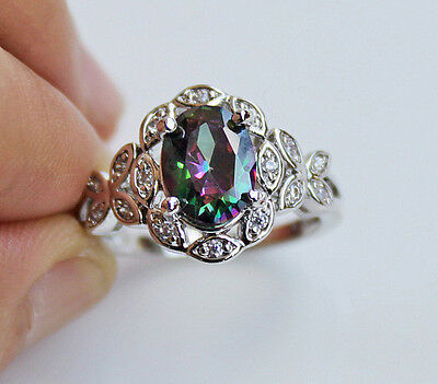 18K White Gold Filled - MYSTICAL Topaz Gems Butterfly Prom Ring US SZ 6/7/8/9/10