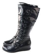Miz Mooz Women's Bloom Engineer Boot Side Zipper Black leather Size 10 M US
