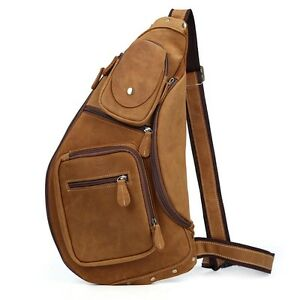 894654366d Men s Large Leather Sling Backpack Cross Body Chest Bag One Strap ...