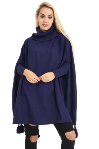 Italian Ladies High Neck Batwing Tassels Poncho Knitted Winter Baggy Jumper Top