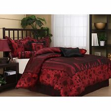 Queen Size 7 Piece Bedding Comforter Set Red Black Bed Set