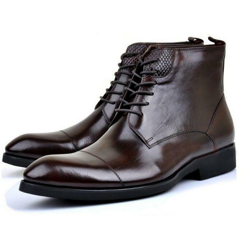 US Size 5-11 Mens Fashion Leather Lace Up Formal Dress Ankle Boots shoes Pump xi