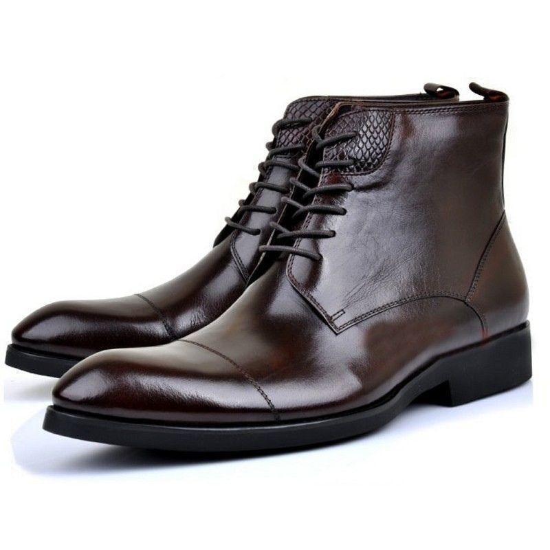 Para hombres Cuero acordonados formal Zapatos botas al Tobillo Vestido Pump Tacón Bajo Puntera Puntiaguda