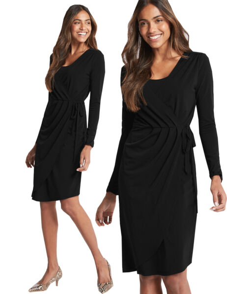 021f3128c380 MARKS AND SPENCER ASYMMETRIC LONG SLEEVE WRAP MIDI DRESS M&S COLLECTION