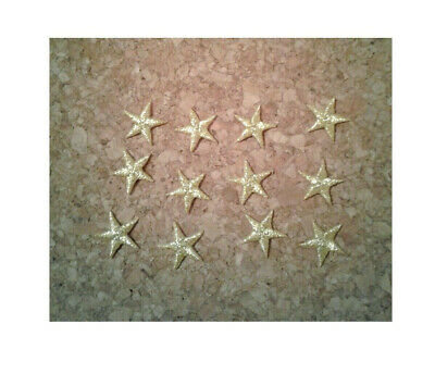 """1 5//8/"""" Embroidered Silver Edged Stars Iron On Patches Set Of 12 Crafts"""