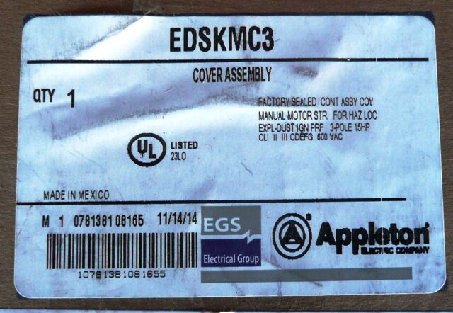 600VAC 15HP NEW APPLETON EDSKMC3 EXPLOSION-PROOF COVER ASSEMBLY  30A 3 POLE