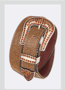 Western LEATHER Solid Bling Belt Crystal Rhinestones Rodeo S-2XL Brown /& Gold