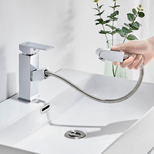 Ausziehbar Waschtischarmatur Wasserhahn Waschbecken Badarmatur mit Brause Bad DE